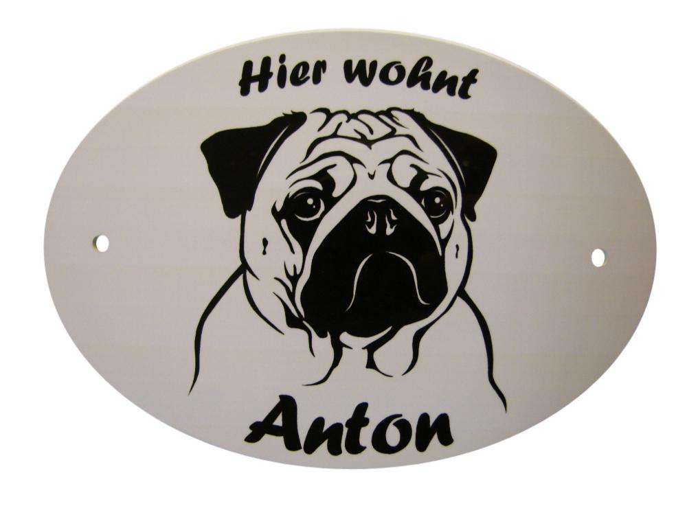 Hundeschild Mops Anfalas.de
