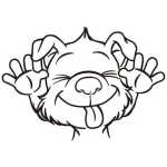 Comic Hunde Köpfe Bügelbild