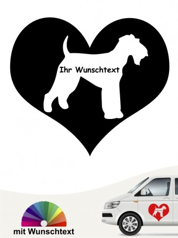 Airedale Terrier im Herz Aufkleber mit Wunschtext anfalas.de