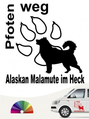 Pfoten weg Alaskan Malamute im Heck Aufkleber anfalas.de