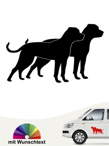 American Bulldog doppel Silhouette mit Wunschtext anfalas.de