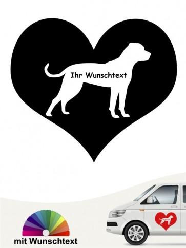 American Bulldog Slhouette im Herz Aufkleber anfalas.de