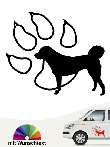 Anatolischer Hirtenhund Silhouette mit Pfote und Wunschtext anfalas.de