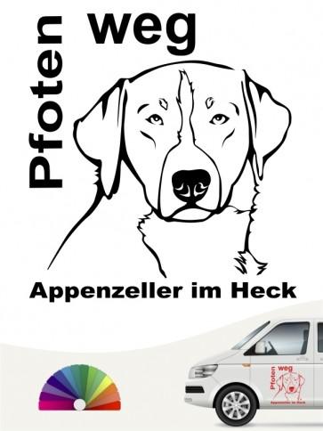 Pfoten weg Appenzeller im Heck Aufkleber anfalas.de