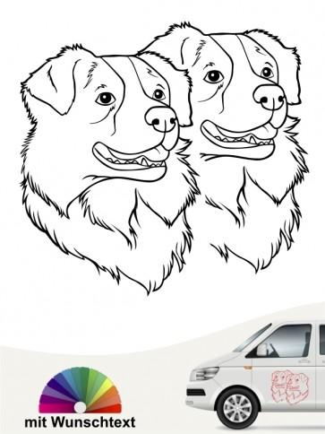 Australian Shepherd doppel Köpfe mit Text anfalas.de