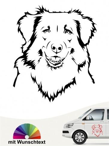 Australian Shepherd Kopf Autoaufkleber mit Wunschtext anfalas.de