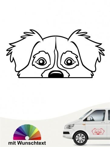 Australian Shepherd Comic Hunde Kopf Autoaufkleber mit Wunschtext von anfalas.de
