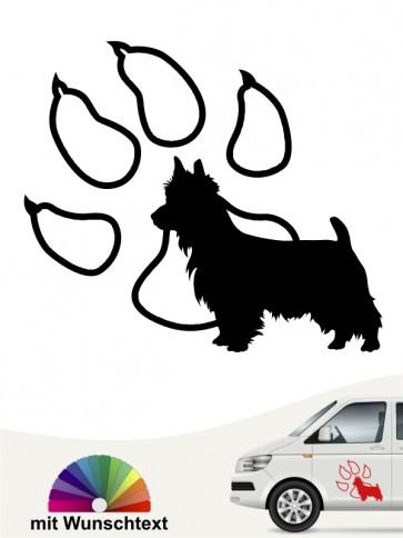Australian Terrier mit Wunschtext und Pfote anfalas.de