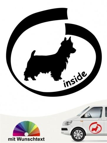 Australian Terrier inside Aufkleber mit Wunschtext anfalas.de