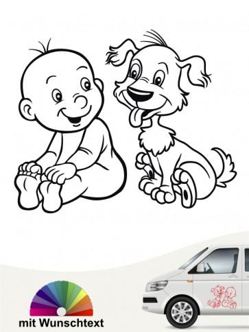 Hunde-Autoaufkleber Kind & Hund 17 von Anfalas.de