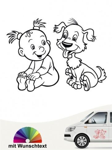 Hunde-Autoaufkleber Kind & Hund 19 von Anfalas.de
