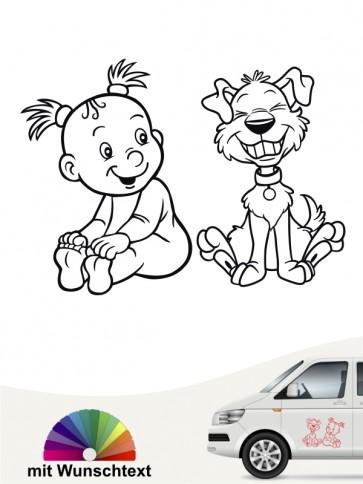 Hunde-Autoaufkleber Kind & Hund 22 von Anfalas.de