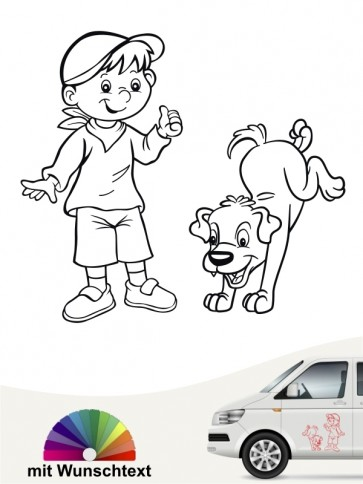 Hunde-Autoaufkleber Kind & Hund 29 von Anfalas.de