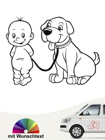 Hunde-Autoaufkleber Kind & Hund 3 von Anfalas.de