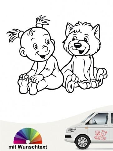Hunde-Autoaufkleber Kind & Hund 5 von Anfalas.de