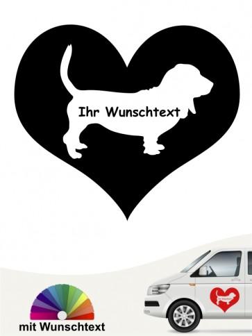 Basset Hound im Herzmotiv Autoaufkleber anfalas.de