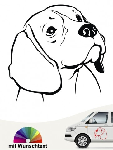 Beagle Kopf Autoaufkleber mit Wunschtext anfalas.de