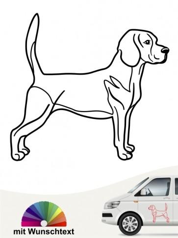 Beagle Autoaufkleber mit Wunschtext anfalas.de