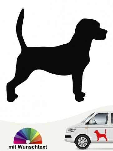 Beagle Silhouette Autoaufkleber mit Text anfalas.de
