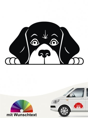 Beagle Comic Hunde Kopf Autoaufkleber mit Wunschtext von anfalas.de
