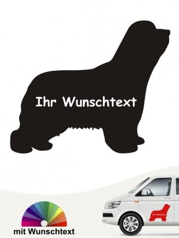 Bearded Collie Silhouette mit Wunschtext anfalas.de