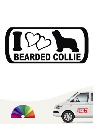 I Love Bearded Collie Aufkleber anfalas.de