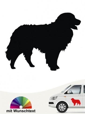 Berner Sennenhund Silhouette Aufkleber mit Wunschtext anfalas.de