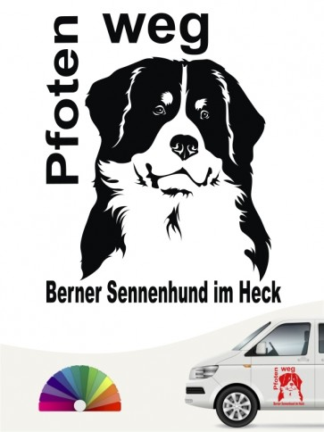 Berner Sennenhund Pfoten weg Hundeaufkleber anfalas.de