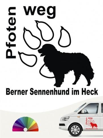 Berner Sennenhund Pfoten weg Heckscheibenaufkleber anfalas.de