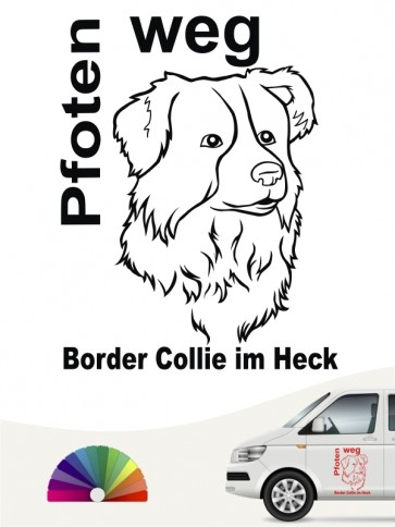 Pfoten weg Border Collie im Heck Autoaufkleber anfalas.de