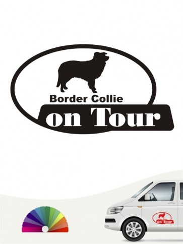 Border Collie on Tour Heckscheibenaufkleber anfalas.de