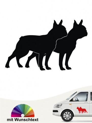 Boston Terrier doppel Silhouette mit Wunschtext anfalas.de
