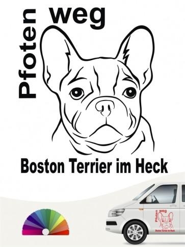 Boston Terrier Pfoten weg im Heck Aufkleber anfalas.de