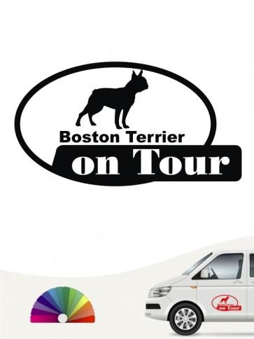 Boston Terrier on Tour Heckscheibenaufkleber anfalas.de