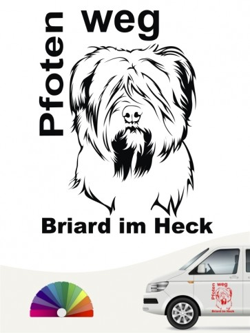 Pfoten weg Briard im Heck Heckscheibenaufkleber anfalas.de