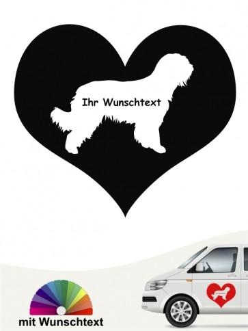 Briard Silhouette im Herz mit Wunschname anfalas.de