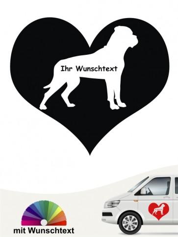 Bullmastiff im Herz mit Wunschtext anfalas.de