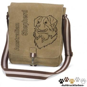 """Canvas Tasche """"Australian Shepherd"""" Kopfmotiv von anfalas.de"""