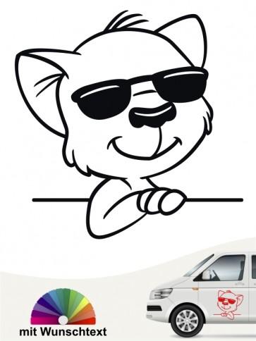 Comic Katze Autoaufkleber mit Wunschtext von anfalas.de