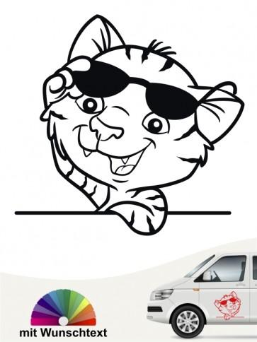 Comic Katzen Autostickwer mit Wunschtext von anfalas.de