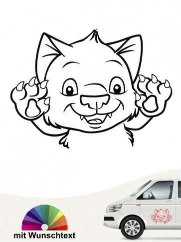 Comic Katzen Autsticker mit Wunschtext von anfalas.de