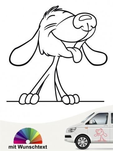 Comic Hund Autosticker mit Wunschtext von anfalas.de