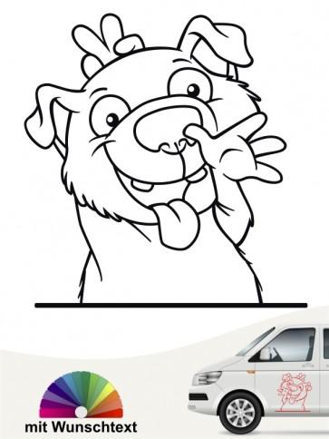 Hundecomic Autoaufkleber mit Wunschtext von anfalas.de