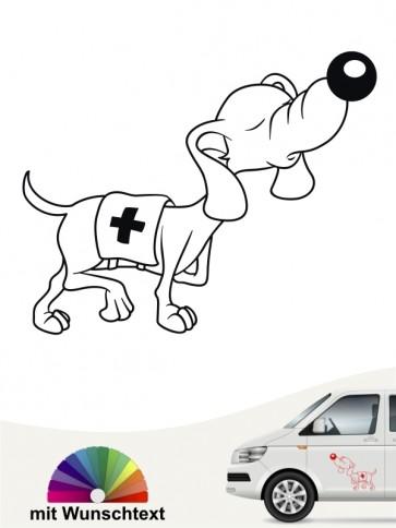 Lustiger Comic Hund Rettungshund Aufkleber anfalas.de
