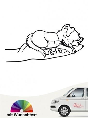 Comic Hund Heckscheibenaufkleber mit Wunschtext von anfalas.de