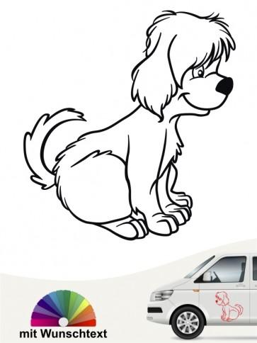 Comic Hundeaufkleber mit Wunschtext von anfalas.de