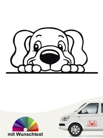 Comic Hund Autoaufkleber mit Wunschtext von anfalas.de