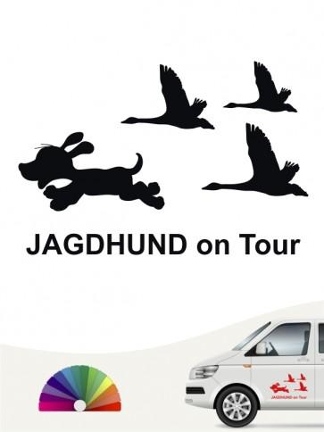 Lustiger Jagdhund on Tour Aufkleber von anfalas.de