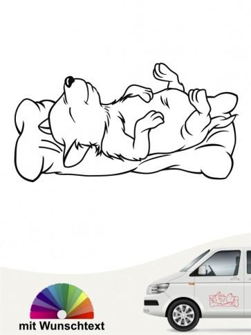 Schlafender Comic Hund Autosticker von anfalas.de