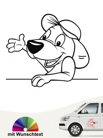 Hundecomic Autosticker mit Wunschtext von anfalas.de